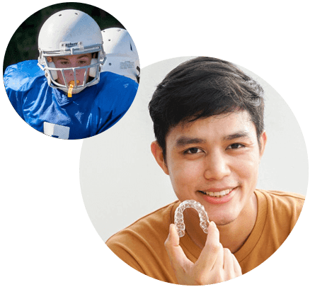 Athlete Wearing a custom mouthguard